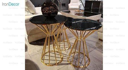 میز عسلی سه تکه پایه فلزی از مبلمان یاشیل