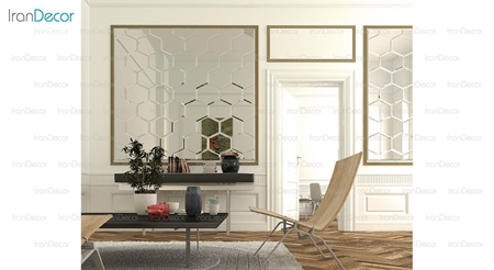 آینه دکوراتیو مدل کندویی از آینه و شیشه آریا