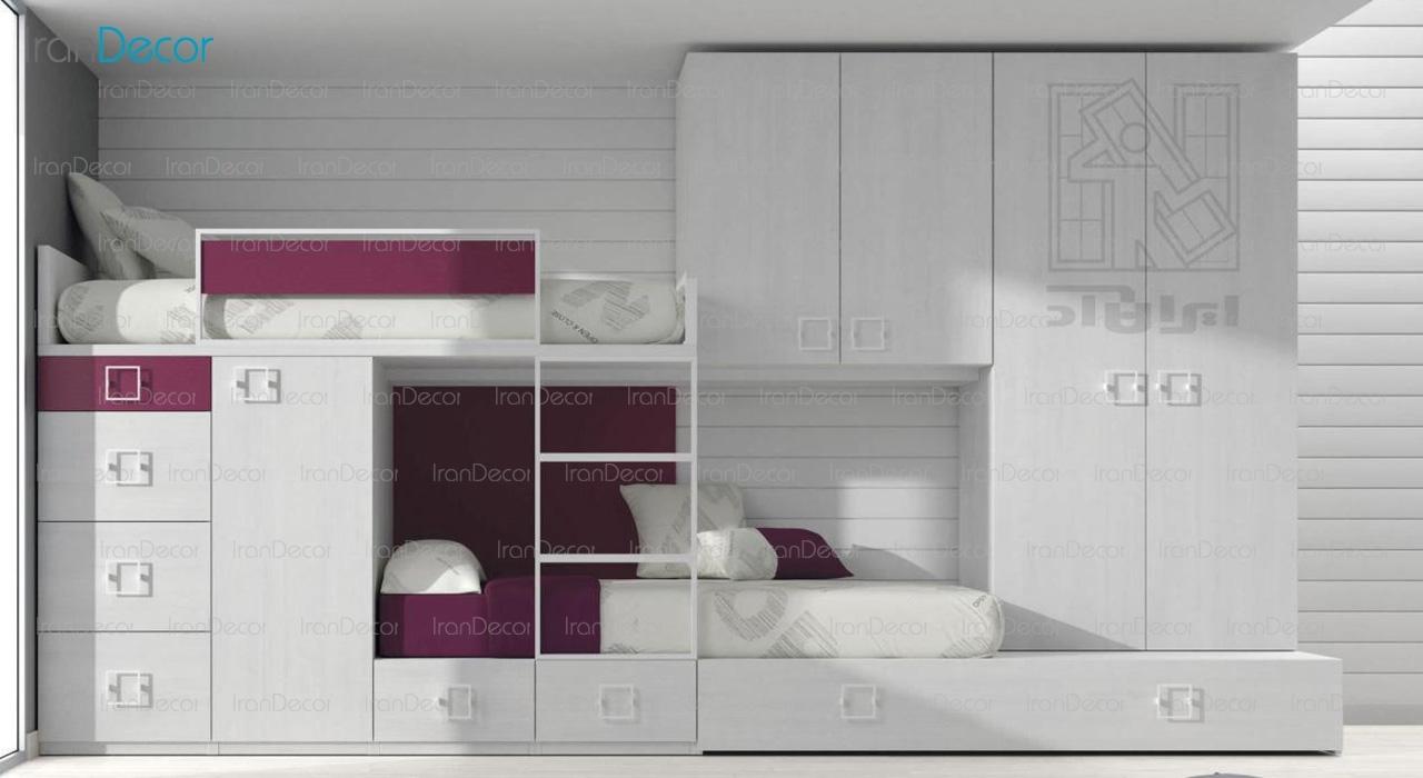 سرویس تختخواب دو طبقه و کمد مدل 1604 از ایران آد