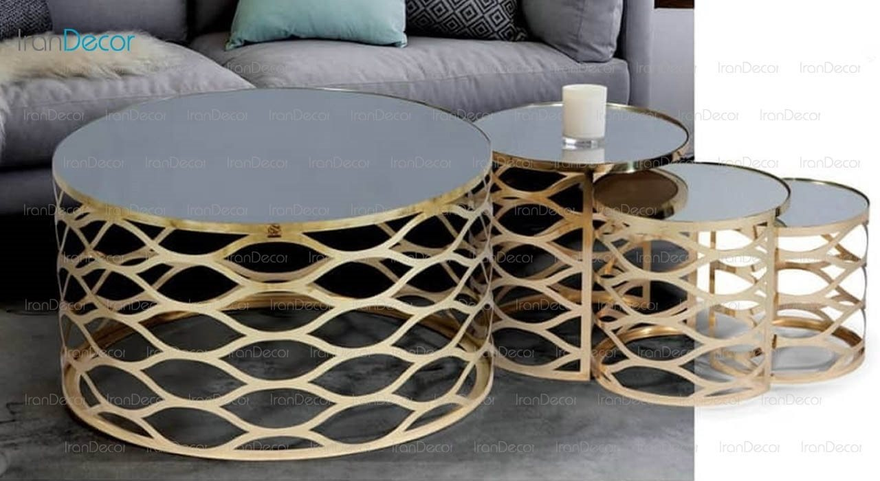 سرویس میز جلو مبلی مدل دیاموند طلایی از میشا چوب