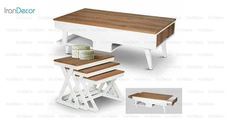 سرویس میز جلو مبلی مدل صفحه ریلی از میشا چوب