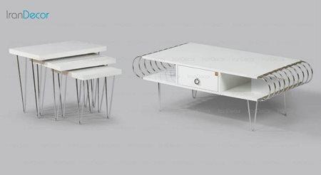 سرویس میز جلو مبلی مدل میرا سفید کد 1 از میشا چوب