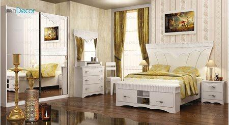 سرویس خواب مدل تیتوس سفید از ساج آسا
