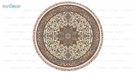 فرش ماشینی گرد مدل اصفهان کِرِم رنگ از کرامتیان