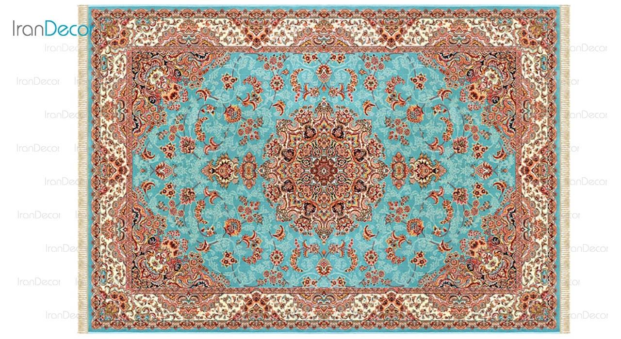 فرش ماشینی مدل شاهکار آبی رنگ از کرامتیان
