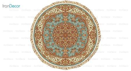 فرش ماشینی گرد مدل شاهکار آبی رنگ از کرامتیان