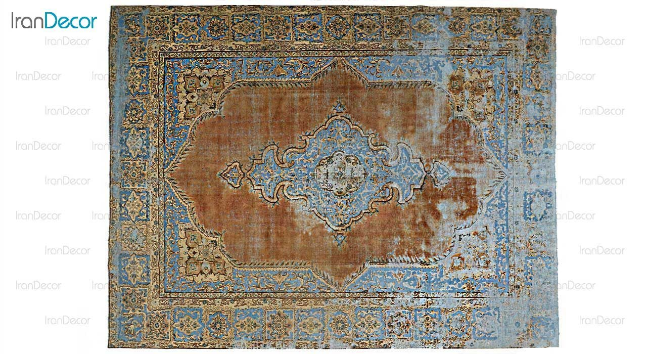فرش دستباف وینتیج قهوه ای روشن از ایپک