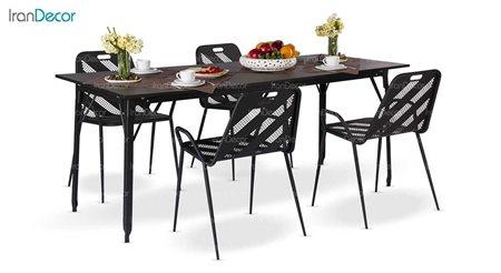 سرویس میز مستطیل و صندلی فلزی مدل نسیم از نهال سان