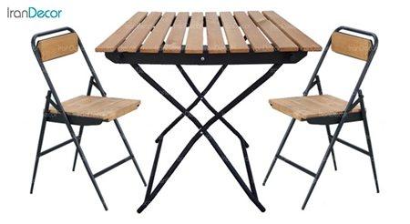 سرویس میز مربع و صندلی ترمو وود تاشو از نهال سان
