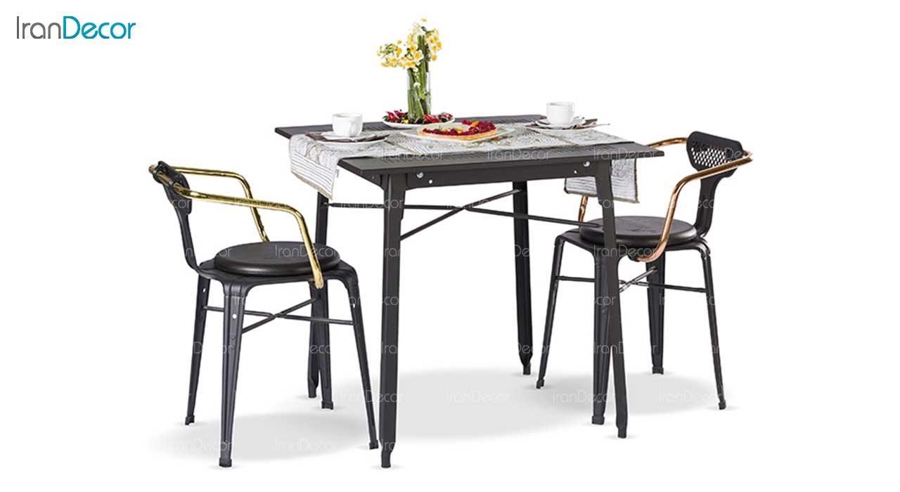 سرویس میز مربع و صندلی فلزی مدل بیتا از نهال سان