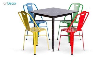 سرویس میز مربع و صندلی فلزی مدل نوید از نهال سان