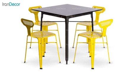 سرویس میز فلزی مربع و صندلی مدل بیتا از نهال سان