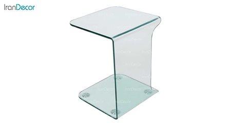 میز بغل مبلی شیشه ای بی رنگ مدل بهار از اطلس
