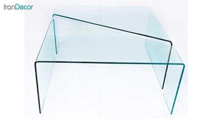 میز جلو مبلی شیشه ای بی رنگ 16 میلی متر مدل اکسیر از اطلس