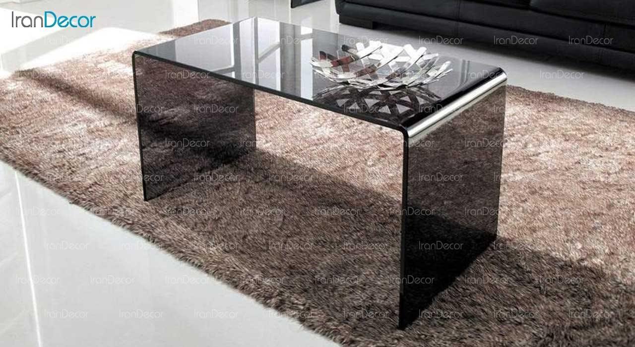 میز جلو مبلی شیشه ای دودی مدل کیمیا از اطلس