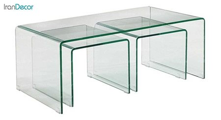 سرویس میز جلو مبلی شیشه ای بی رنگ مدل کیمیا از اطلس