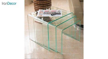 تصویر سرویس میز عسلی سه تیکه شیشه ای بی رنگ شفاف مدل کیمیا از اطلس
