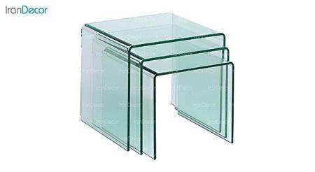 تصویر سرویس میز عسلی سه تیکه شیشه ای بی رنگ مدل کیمیا از اطلس