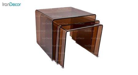 سرویس میز عسلی سه تکه شیشه ای برنز مدل کیمیا از اطلس