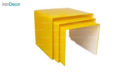سرویس میز عسلی سه تکه شیشه ای زرد مدل نورا از اطلس