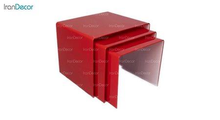 سرویس میز عسلی سه تکه شیشه ای قرمز مدل نورا از اطلس