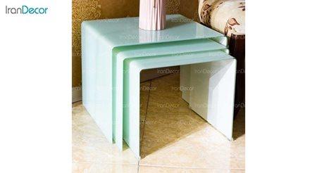 سرویس میز عسلی سه تکه شیشه ای سفید مدل نورا از اطلس