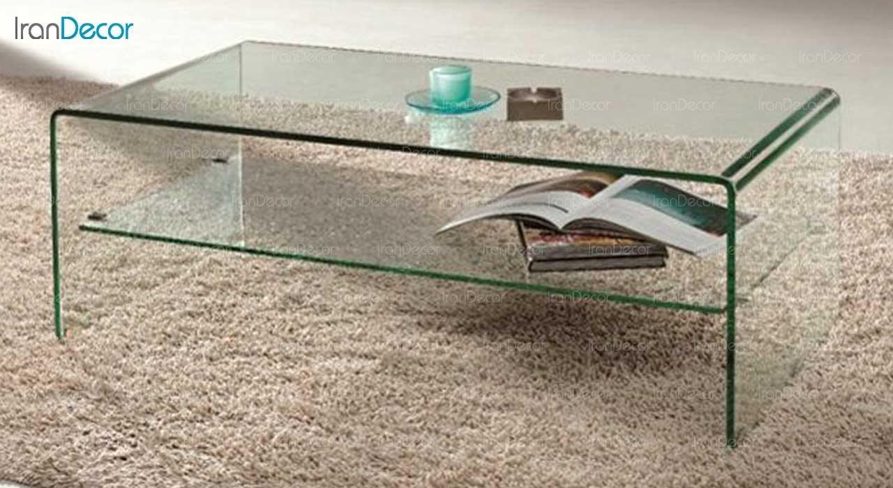 میز جلو مبلی شیشه ای با طبقه مدل کیمیا از اطلس