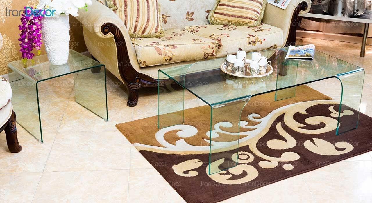 میز جلو مبلی شیشه ای مدل مروارید از اطلس