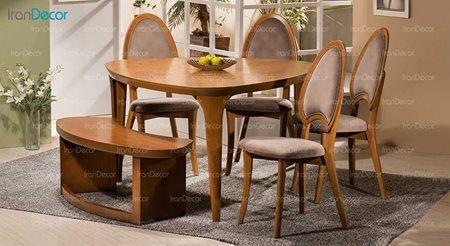 سرویس ناهار خوری چوبی شش نفره مدل رز از فاما