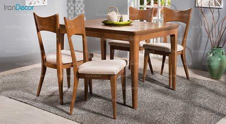 سرویس ناهار خوری چوبی چهار نفره مدل نسترن از فاما