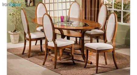 سرویس ناهار خوری چوبی شش نفره مدل لیندا همراه میز پگاه از فاما