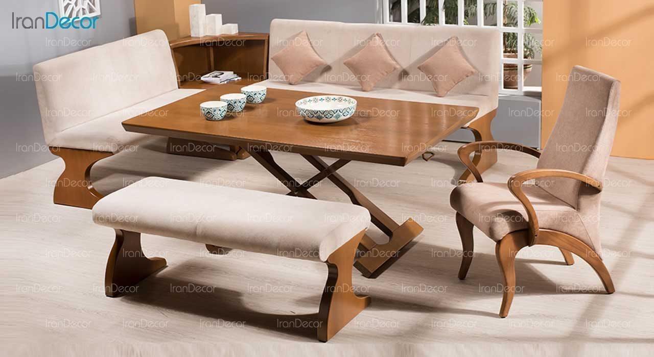 سرویس ناهار خوری چوبی هشت نفره مدل ال تینا از فاما
