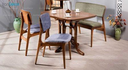 سرویس ناهار خوری چوبی چهار نفره مدل آریز از فاما