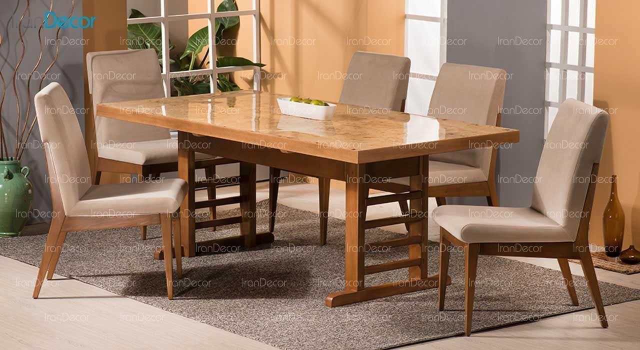 سرویس ناهار خوری چوبی شش نفره مدل آلیو از فاما