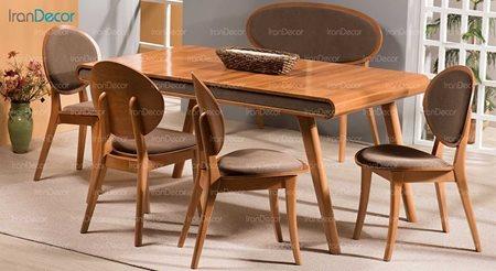 سرویس ناهار خوری چوبی شش نفره مدل کارن از فاما