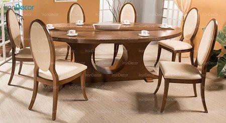 سرویس ناهار خوری چوبی شش نفره مدل لیندا از فاما