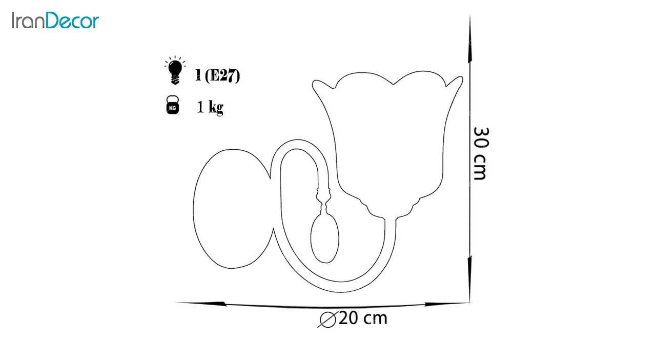 چراغ دیواری  چشمه نور مدل 856.1W طلایی
