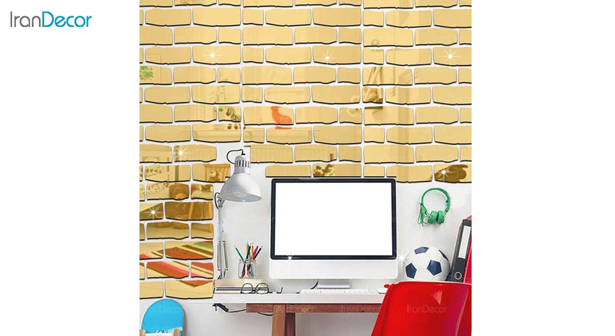 آینه پلکسی رومادون طرح آجر کد 402 طلایی