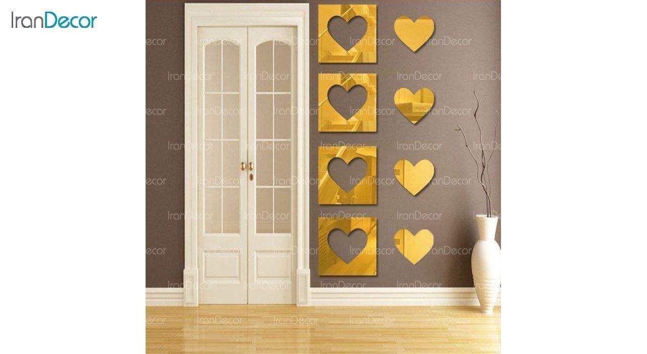 آینه پلکسی گلس طرح قلب رومادون کد 452 اندازه 30 سانتی متر طلایی