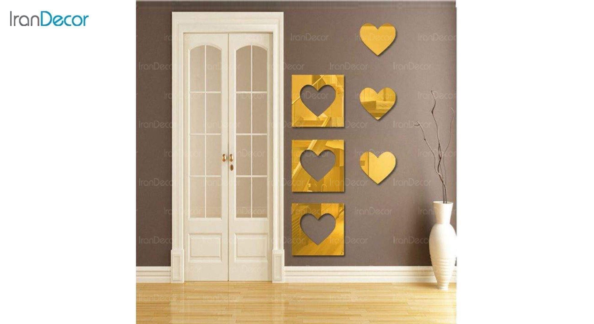 آینه پلکسی گلس طرح قلب رومادون کد 452 اندازه 20 سانتی متر طلایی