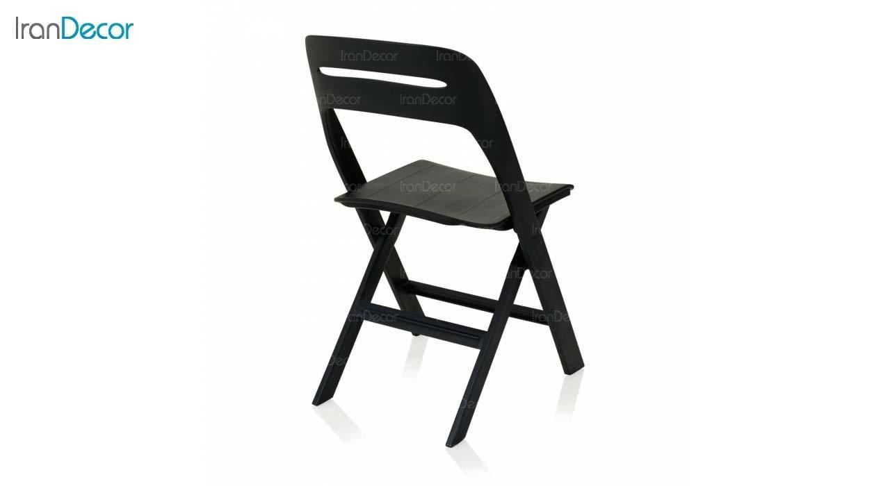 صندلی تاشو پلاستیکی مدل MK62 از استیل هامون مشکی