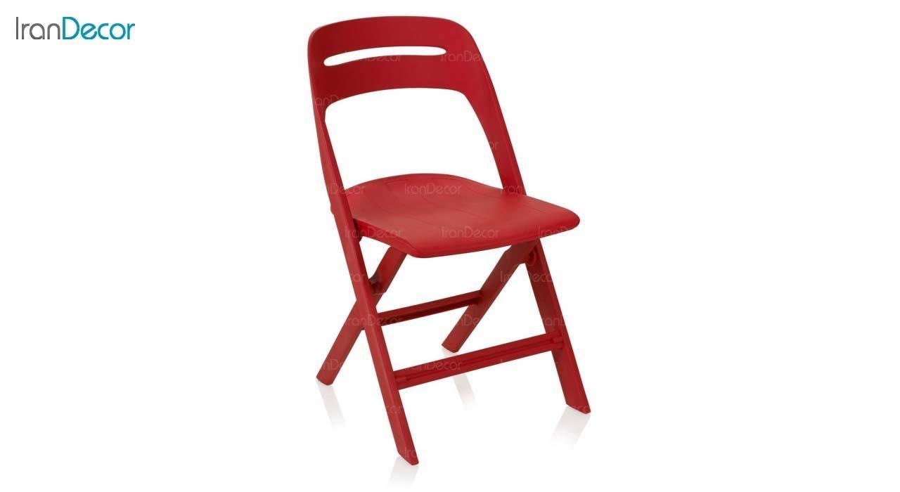 صندلی تاشو پلاستیکی مدل MK62 از استیل هامون قرمز