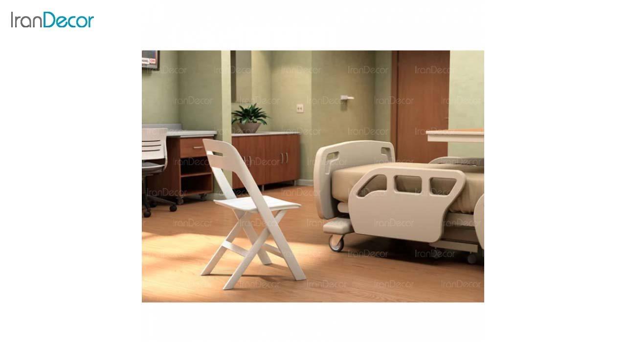 صندلی تاشو پلاستیکی مدل MK62 از استیل هامون سفید