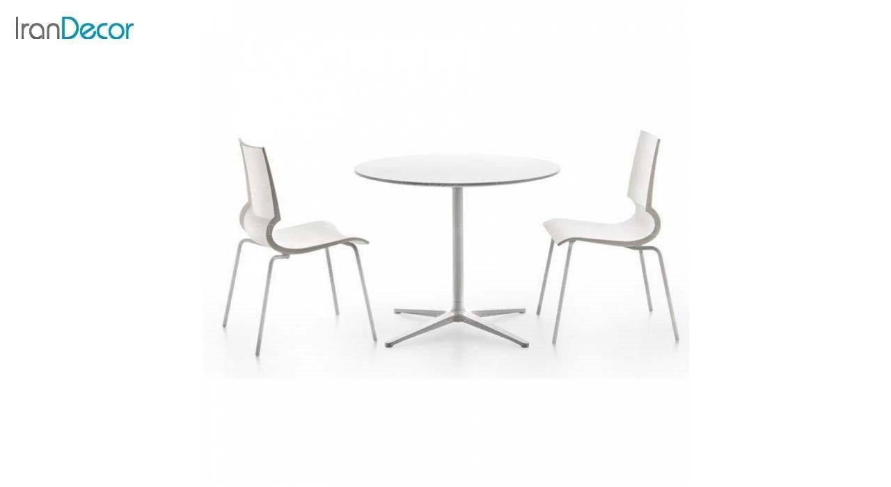 صندلی پلاستیکی مدل رونی RO62 سفید از استیل هامون