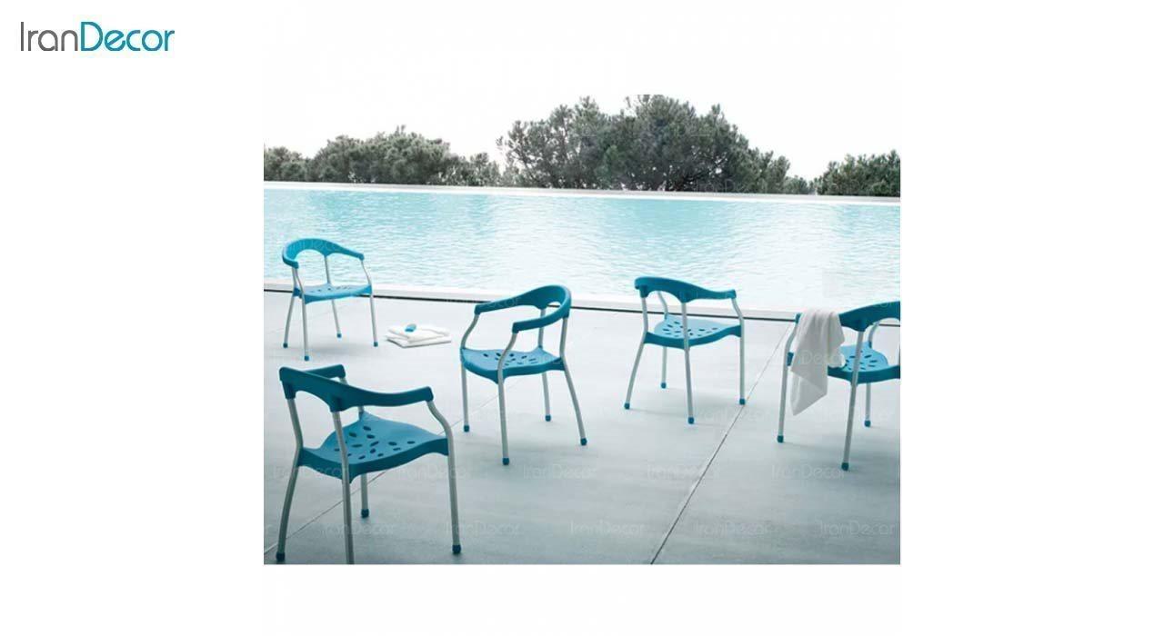 صندلی دسته دار پلاستیکی مدل سرنا SE63 سفید از استیل هامون