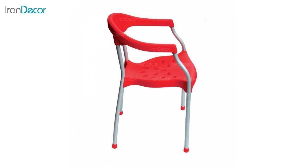 صندلی دسته دار پلاستیکی مدل سرنا SE63 قرمز از استیل هامون