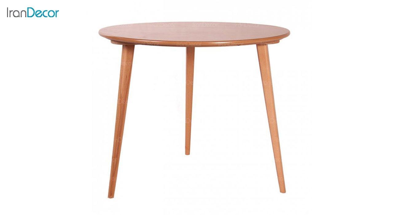 میز ناهار خوری چوبی چهار نفره گرد مدل TW1 از استیل هامون
