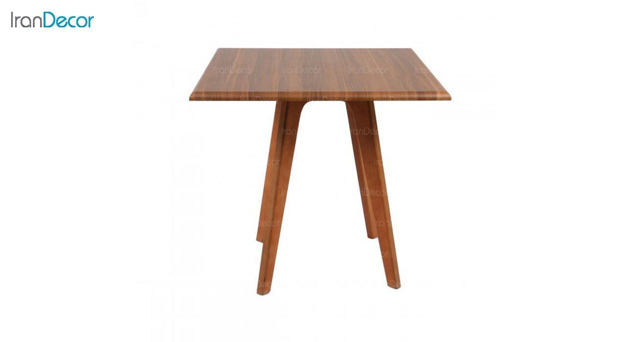 میز ناهار خوری چوبی مربع مدل T19 از استیل هامون