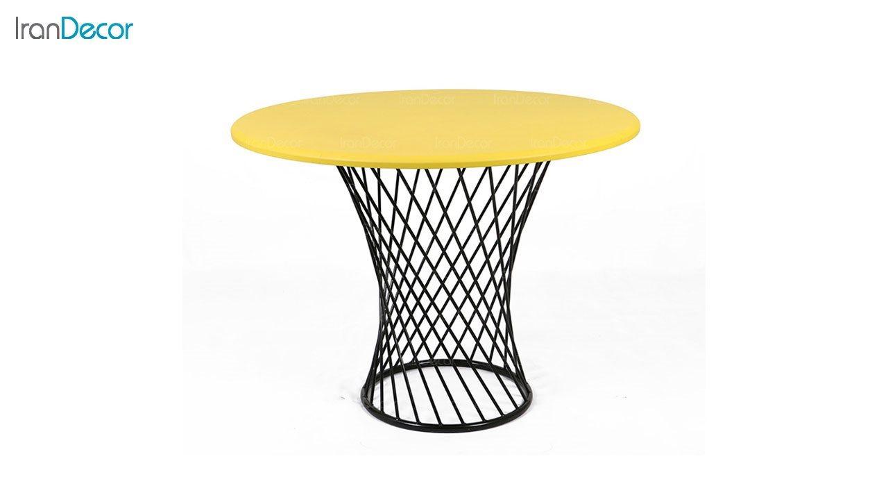 میز ناهار خوری چهار نفره پایه گلدانی زرد از استیل هامون