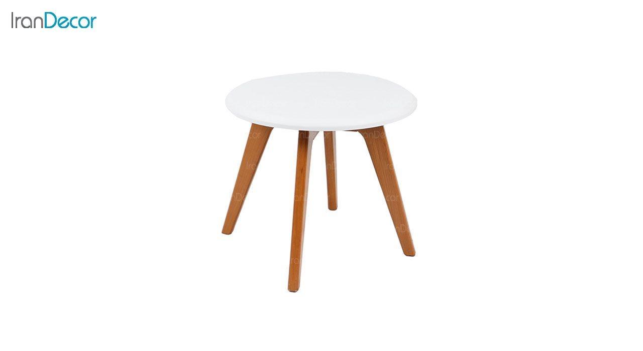 میز عسلی چوبی گرد مدل T1 از استیل هامون